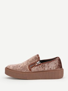 Double Zipper Design Velvet Sneakers