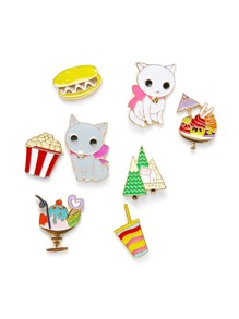 Cat & Dessert Design Brooch Set