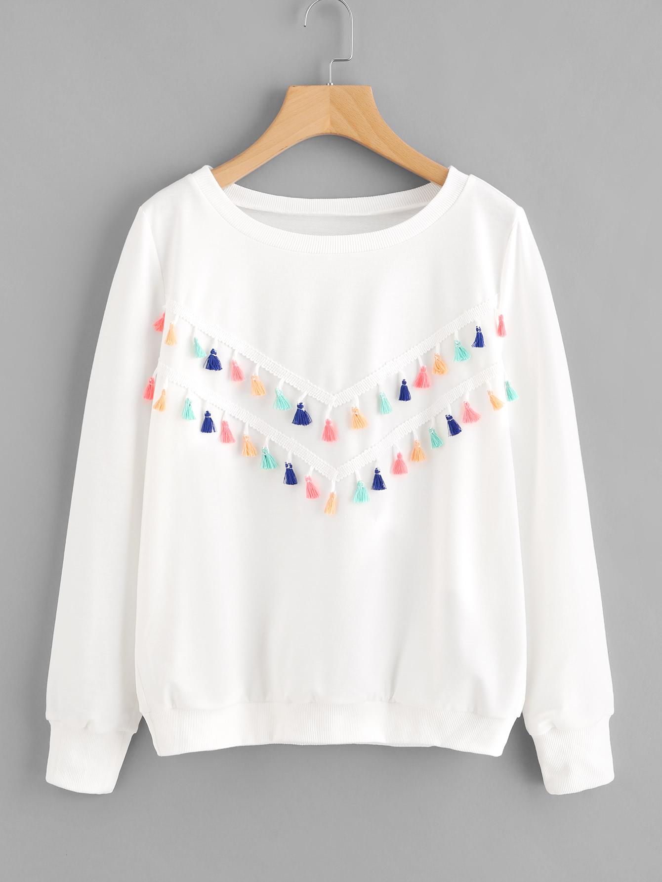 Colorful Fringe Trim Sweatshirt drop shoulder fringe trim sweatshirt