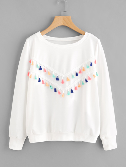 Sweat-shirt avec garniture de frange