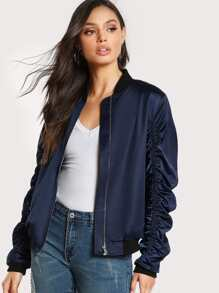 Shirred Detail Bomber Jacket