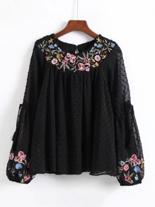 Dot Textured Embroidered Blouse