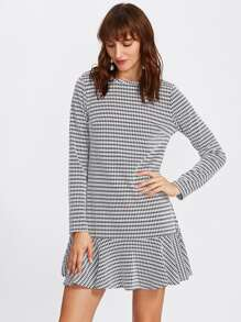 Flounce Hem Houndstooth Dress