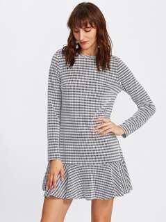 Flounce Hem Houndstooth Dress