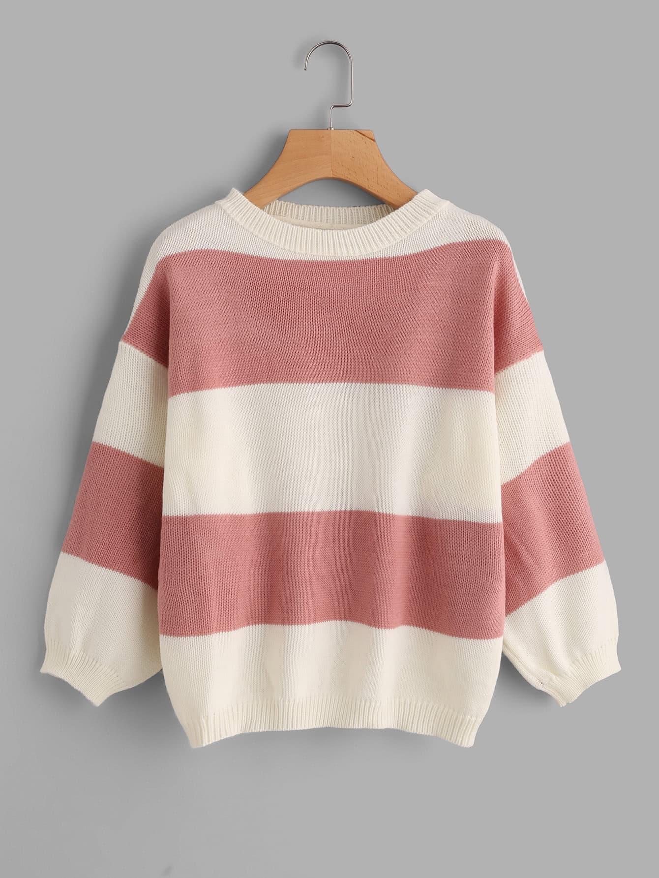 Wide Striped Sweater -SheIn(Sheinside)