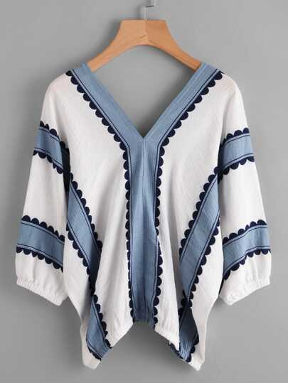 Contrast Print Double V Blouse