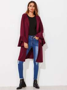Drape Collar Bell Sleeve Belted Coat