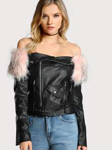 Faux Fur Lined Moto Jacket BLACK