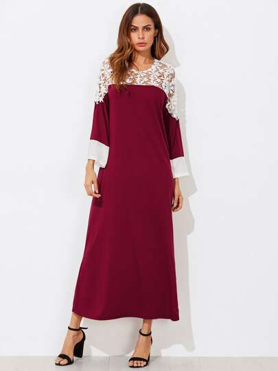 Contrast Hollow Out Crochet Yoke Dress