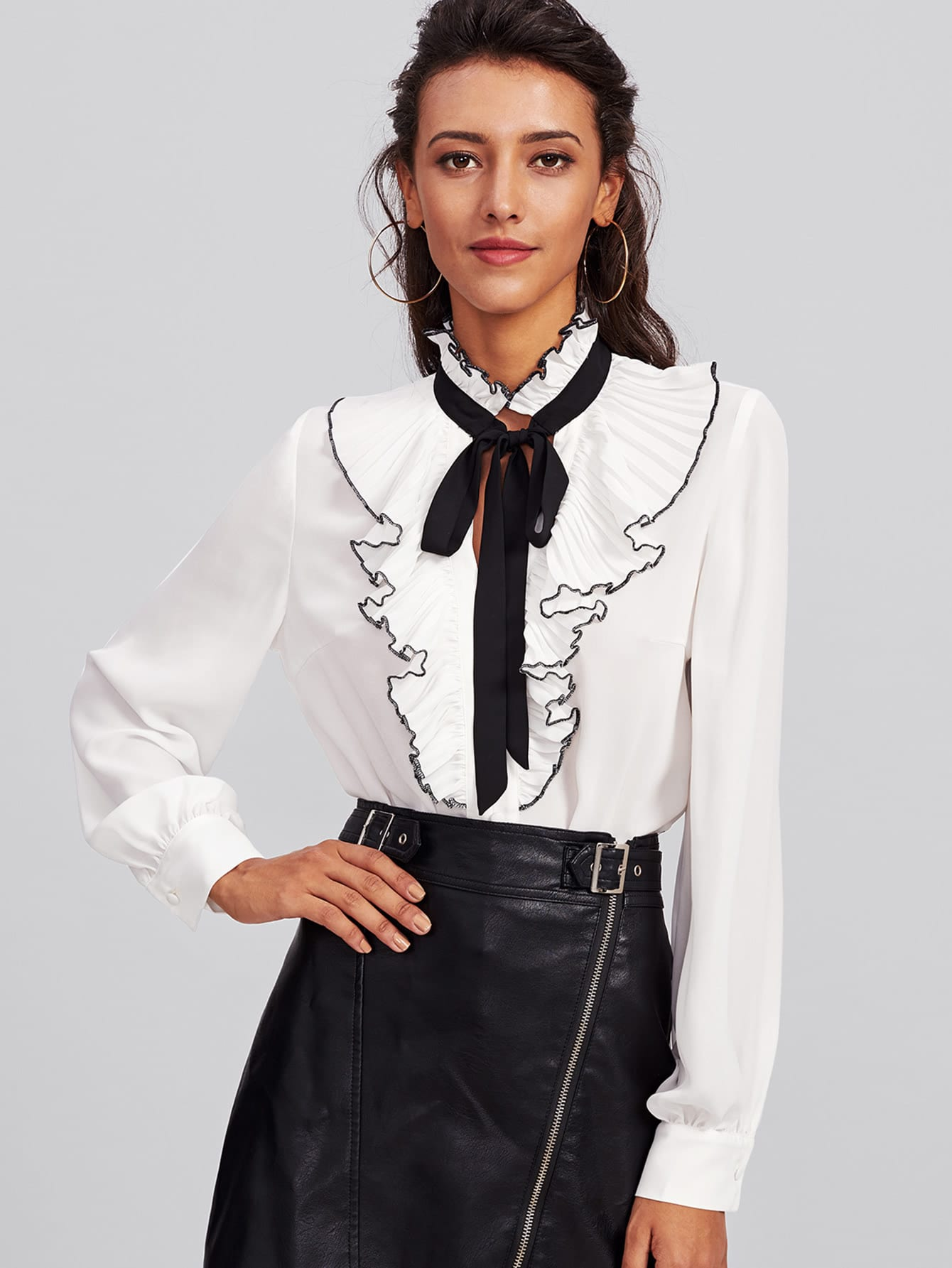 Bow Tie Pleated Frill Placket Blouse allover florals bow tie detail frill top with shorts