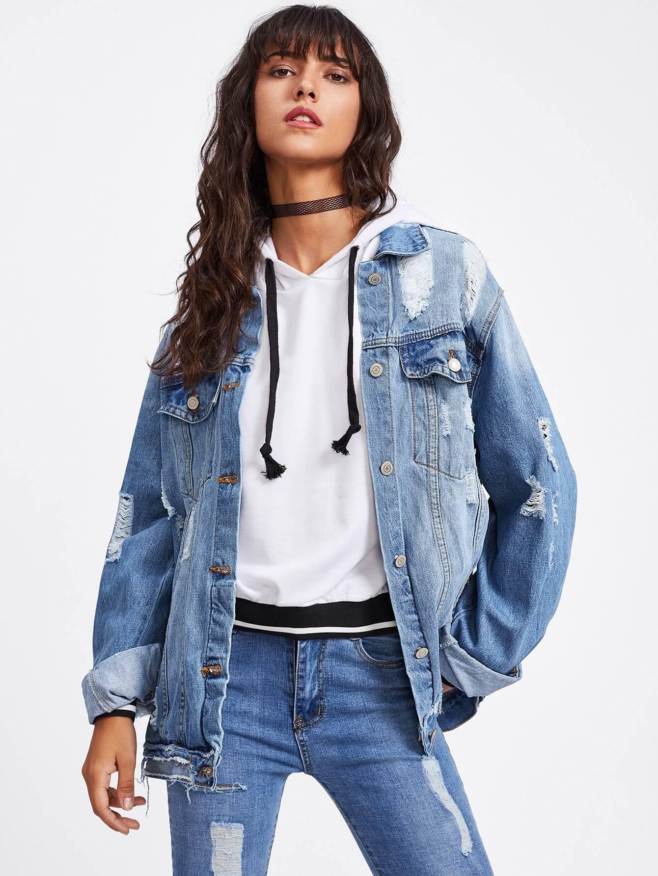 Купить Модная рваная джинсовая куртка, Camila, SheIn