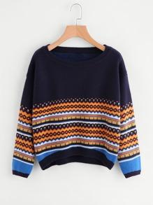 Suéter asimétrico con estampado geométrico