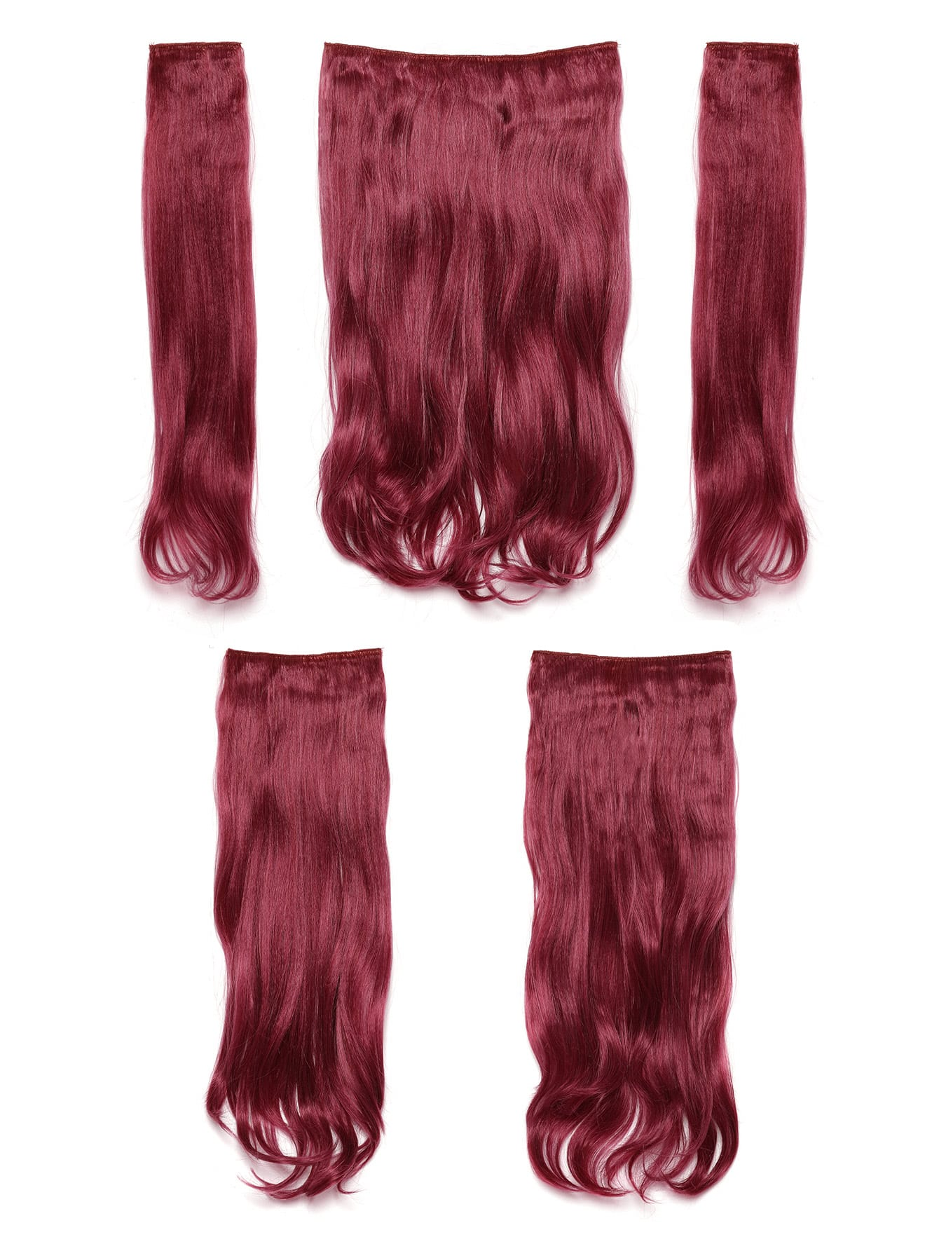 Burgundy Clip In Soft Wave Hair Extension 5pcs
