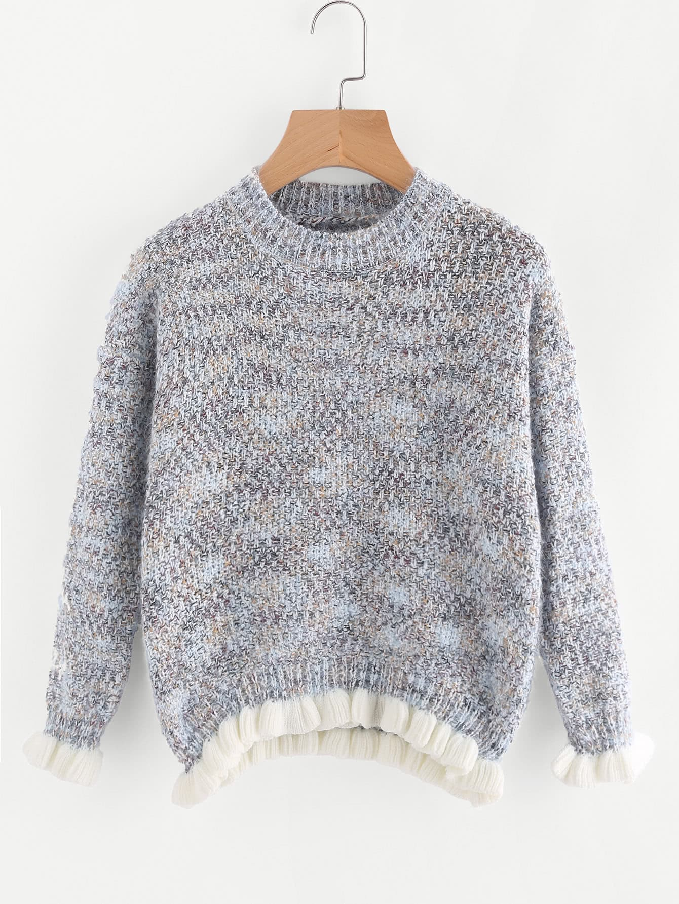 Contrast Frill Trim Slub Sweater