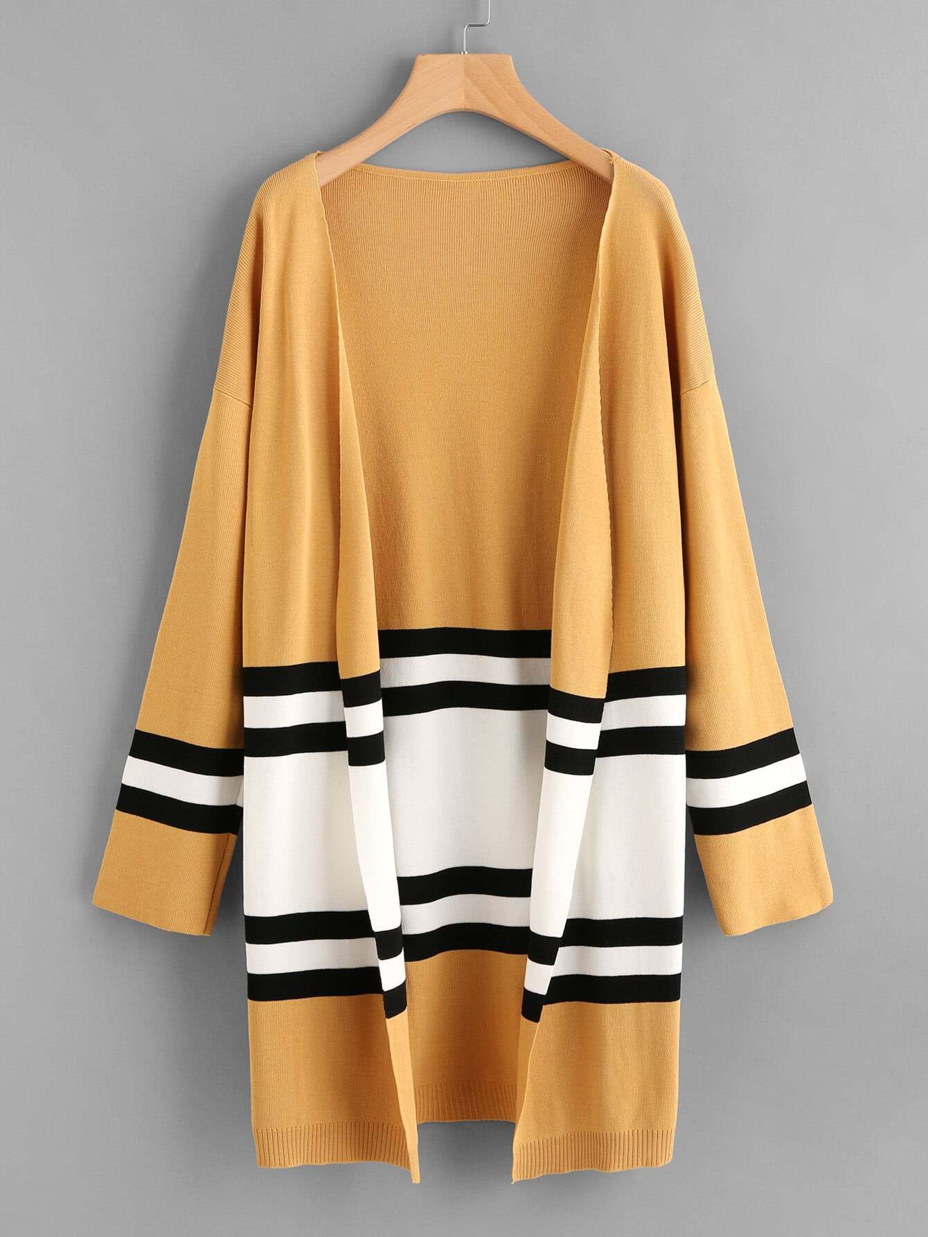 Contrast Stripe Panel Drop Shoulder Jersey Cardigan