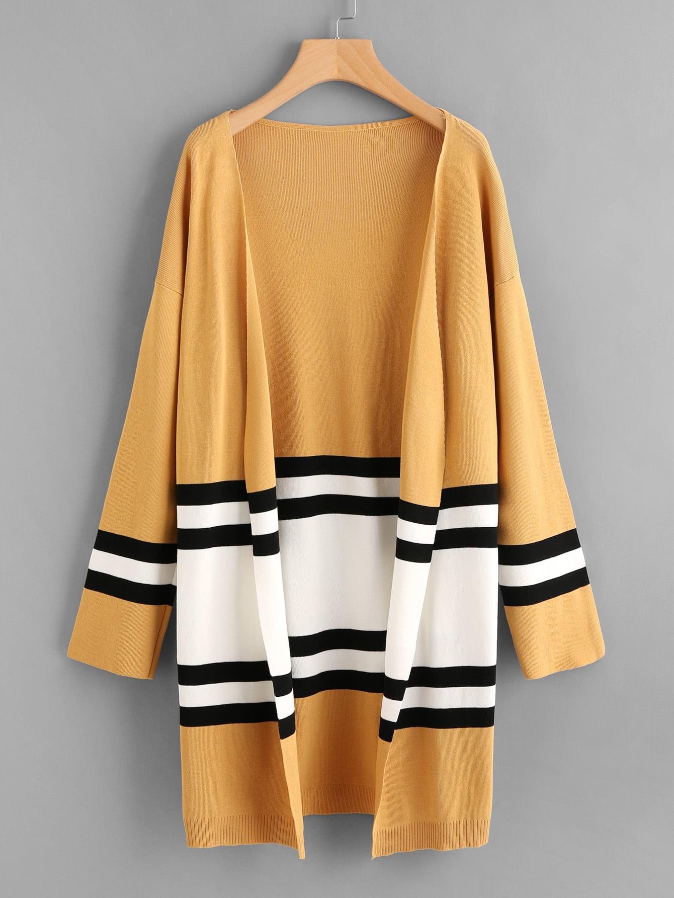 Contrast Stripe Panel Drop Shoulder Jersey Cardigan sweater170911301