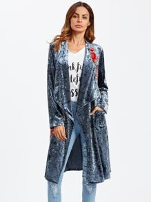 Embroidered Patch Drape Collar Crushed Velvet Coat