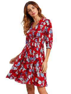 Buttoned Front Shirred Waist Smock Dress