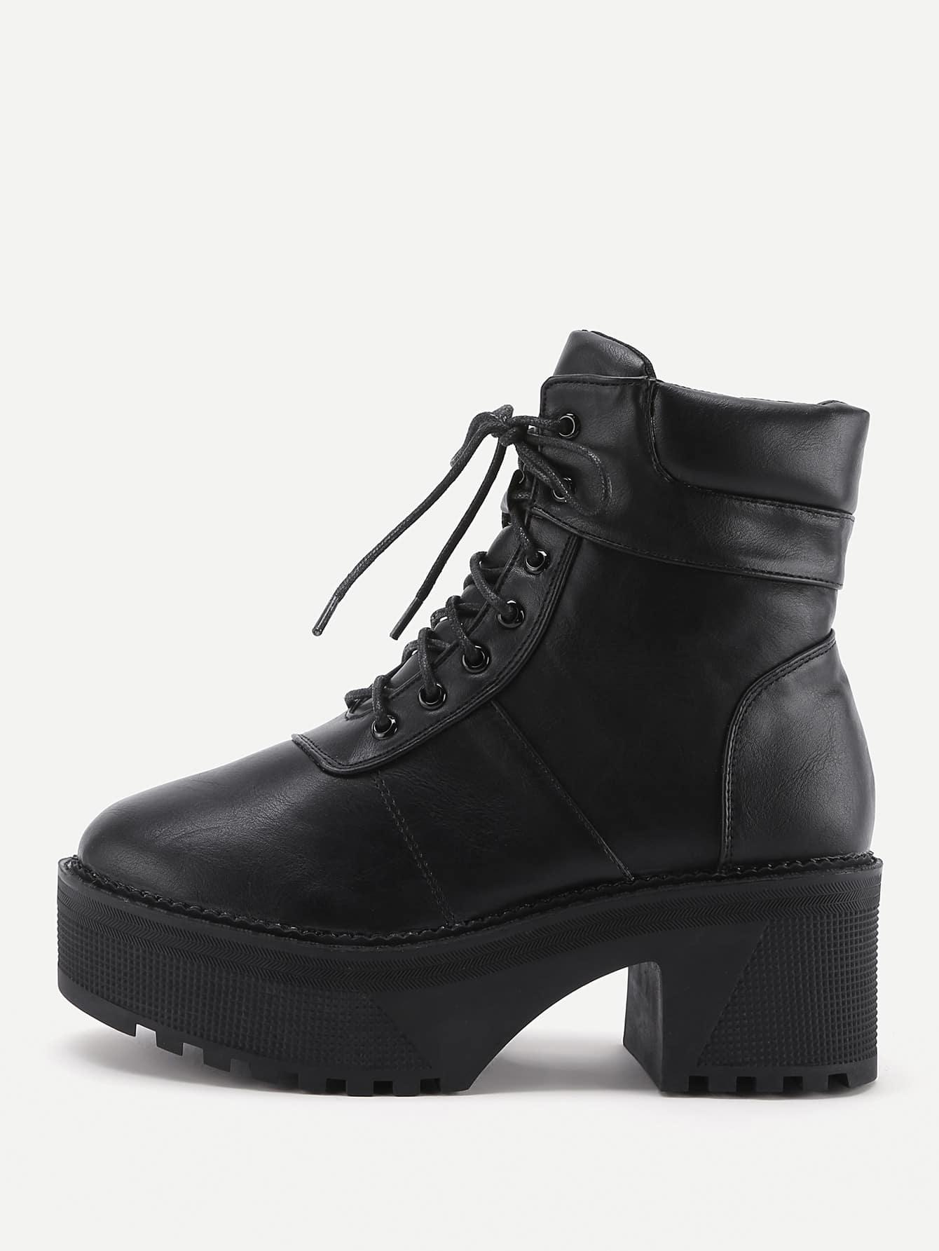 Platform Lace Up Faux Leather Boots shoes170914804