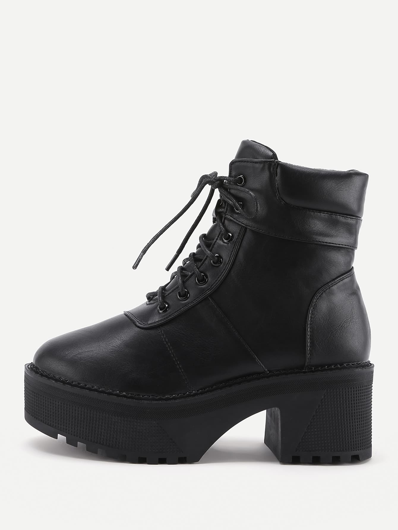 Platform Lace Up Faux Leather Boots shoes170914804