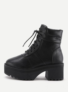 Platform Lace Up Faux Leather Boots