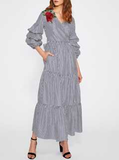 Flower Patch Gathered Sleeve Belted Surplice Wrap Dress