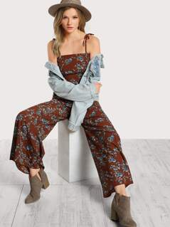 Self Tie Shoulder Flared Floral Jumpsuit