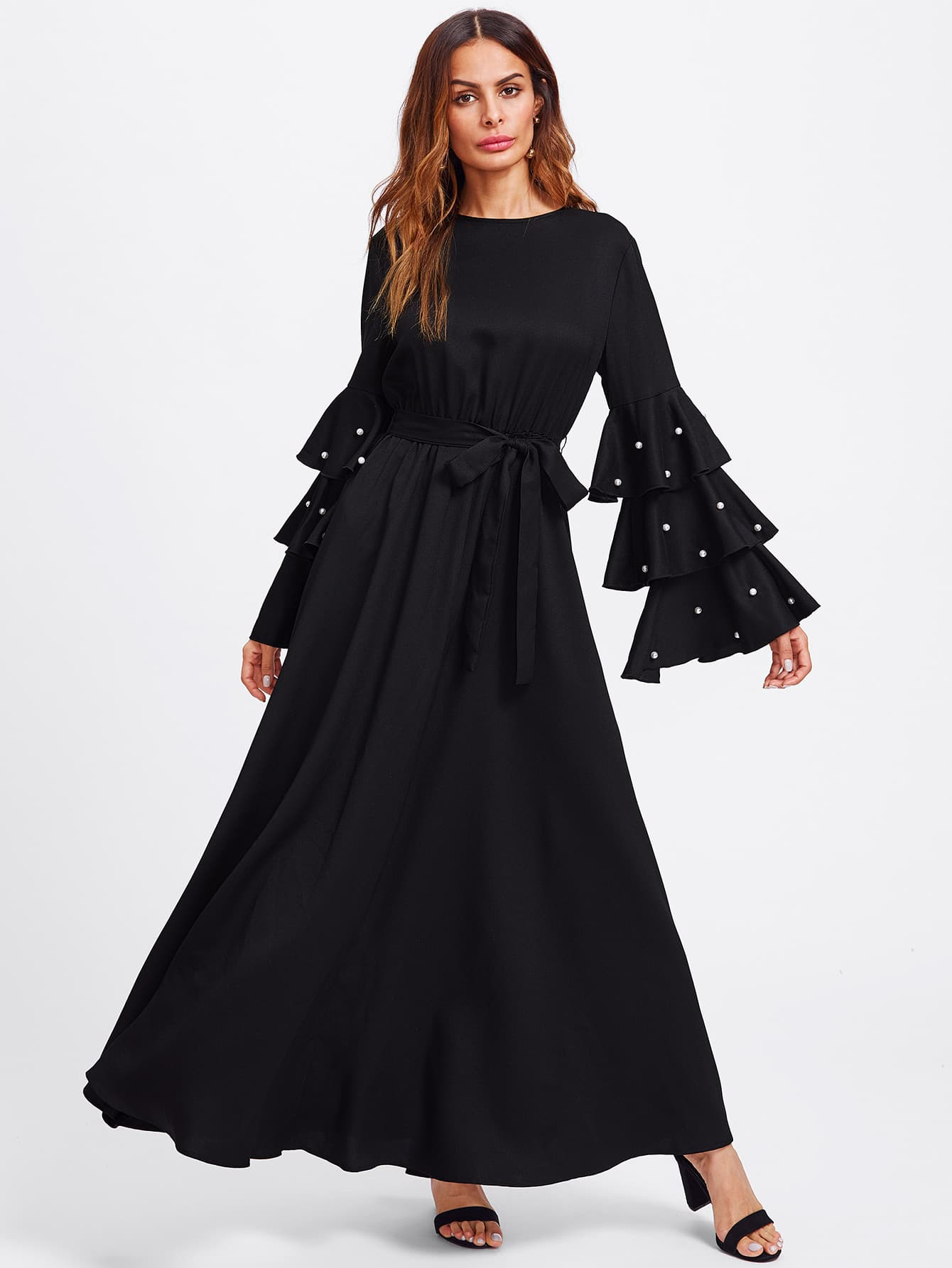 Pearl Beading Bell Sleeve Belted Hijab Evening Dress