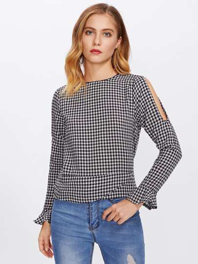 Open Shoulder Ruffle Cuff Gingham Blouse