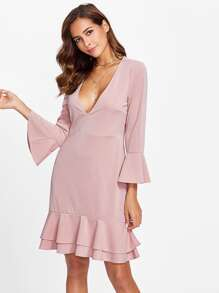 Fluted Sleeve Layered Flounce Hem Dress