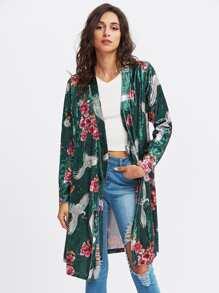 Bird And Flower Print Velvet Wrap Coat