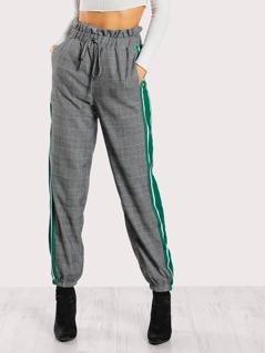 Ruffle Waist Striped Side Plaid Pants