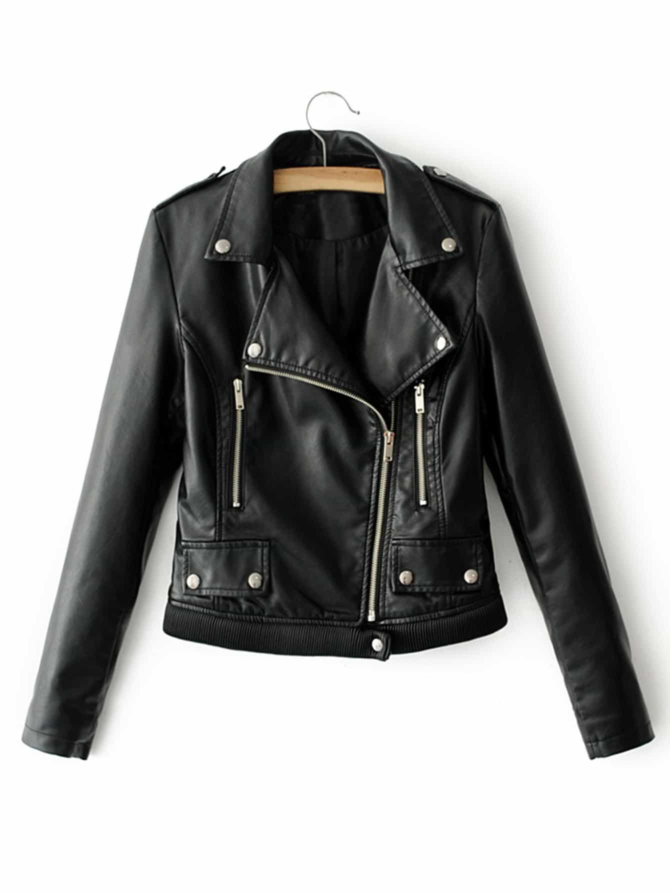 Купить Модная кожаная куртка в рубчик, null, SheIn