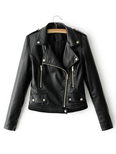 Ribbed Hem PU Biker Jacket