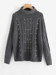 Roll Neck Pearl Beading Mixed Knit Jumper