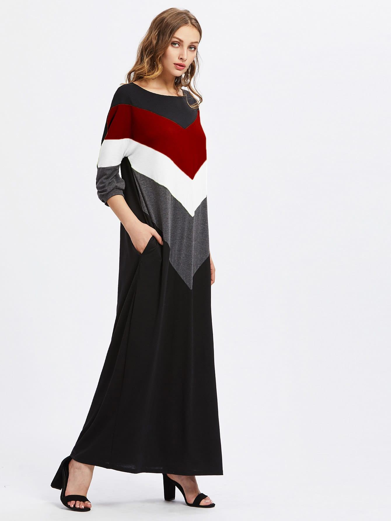 Cut And Sew Chevron Maxi Dress