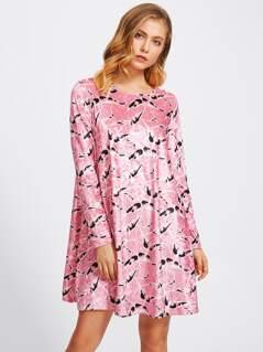 Allover Print Velvet Swing Dress