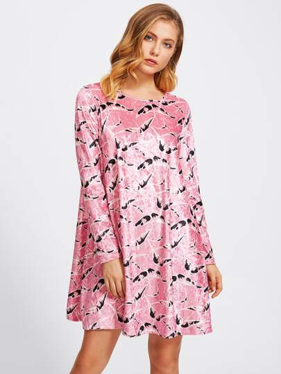 Allover Print Velvet Swing Dress