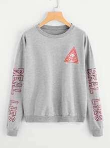Drop Shoulder Letter Print Sweatshirt