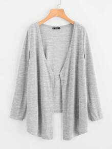 Open Front High Low Heathered Knit Coat