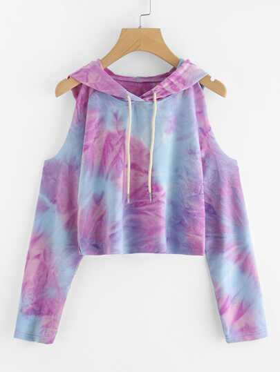 Tie Dye Open Shoulder Crop Hooded Tee
