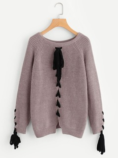 Lace Up Raglan Sleeve And Back Jumper