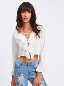 Frill Trim Eyelet Lace Up Crop Top