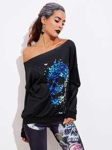 Halloween Abstract Print Pullover