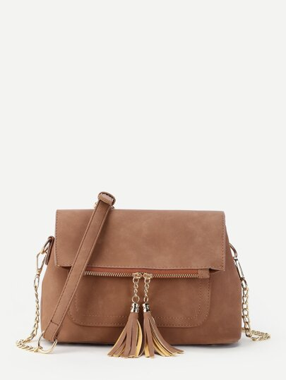 Double Tassel Detail PU Shoulder Bag