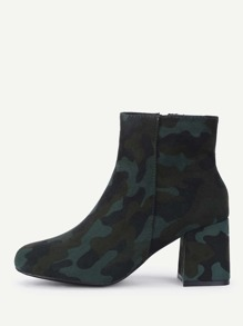 Camouflage Print Block Heeled Boots