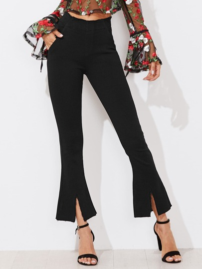 Frayed Hem Slit Flared Jeans