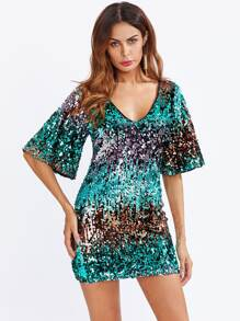 Flare Sleeve Sequin Dress