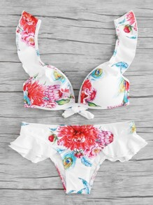 Ruffle Trim Flower Print Bikini Set