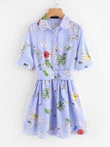 Vestido camisero de rayas con estampado floral y detalle de cinturón